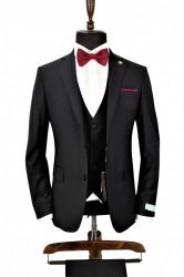 Costum negru slim fit cu vesta