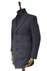 Palton gri barbati cu guler de blana