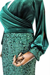 Rochie de ocazie din catifea verde