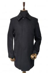 Palton lung cu guler de blana negru Lucas