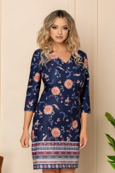 Rochie de zi dreapta bleumarin cu imprimeu Ella