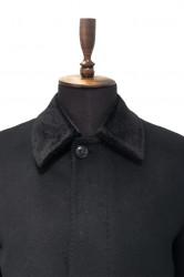 Palton lung cu guler de blana negru