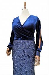 Rochie de ocazie din catifea albastra