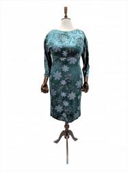 Rochie din catifea elastica verde Edwina
