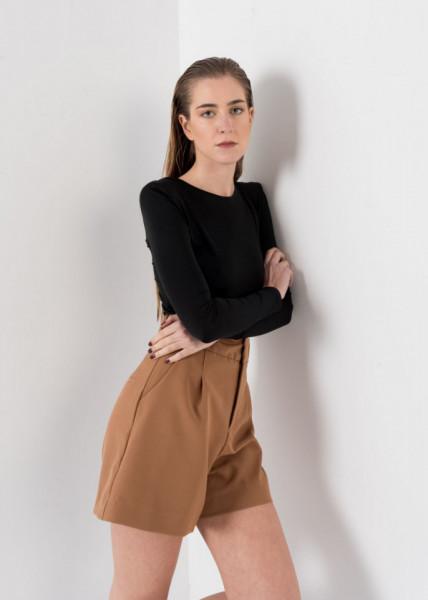 Shorts Eva Plissado Bege