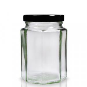 Borcan sticla 720 ml HEXAGONAL - 1 kg miere - bax 12 buc + capace