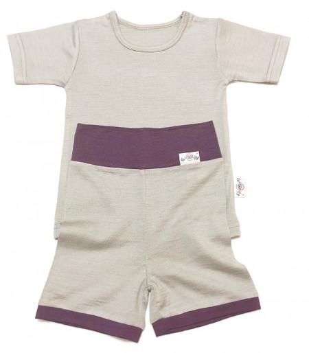 Pantaloni scurți lână merinos - Pearl Grey