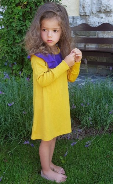 Rochie Rib lână merinos - Lemon Curry