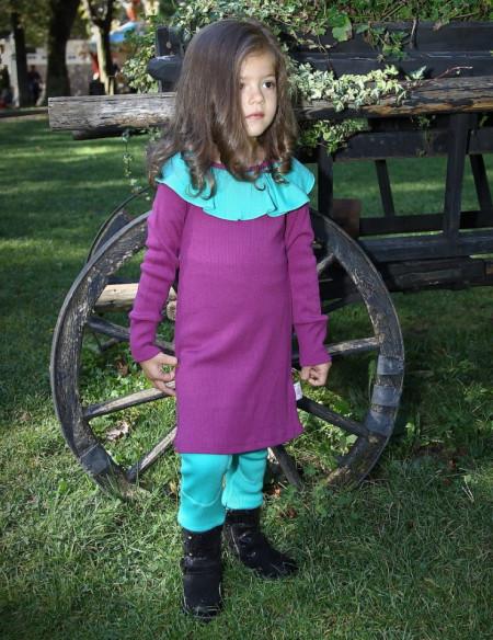 Rochie Rib lână merinos - Purple Wine