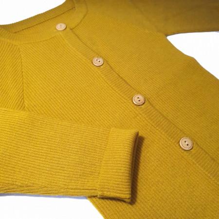 Cardigan Rib lână merinos - Lemon curry