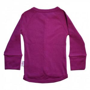 Cardigan Rib lână merinos - Purple Wine