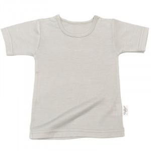 Tricou lână merinos și mătase - Pearl Grey