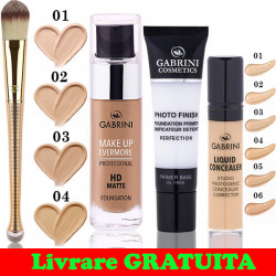 Set Baza Machiaj + Fond de ten Gabrini HD MATTE + Anticearcan + Pensula Fond de ten