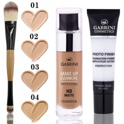 Set Baza de Machiaj + Fond de ten Gabrini HD MATTE Foundation + Pensule Dubla