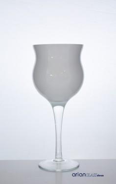 Cupa sticla inalta Floria alba H 35 D 15 cm