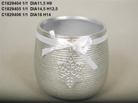 Vas ceramic argintiu D 18 H 14 cm