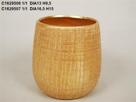 Vas ceramic auriu D 13.5 H 9.5 cm