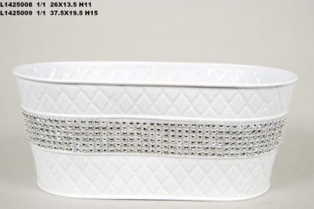Vas alb cu strasuri 26x13.5xH11 cm
