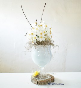 Cupa sticla inalta Floria alba H 25 D 15 cm