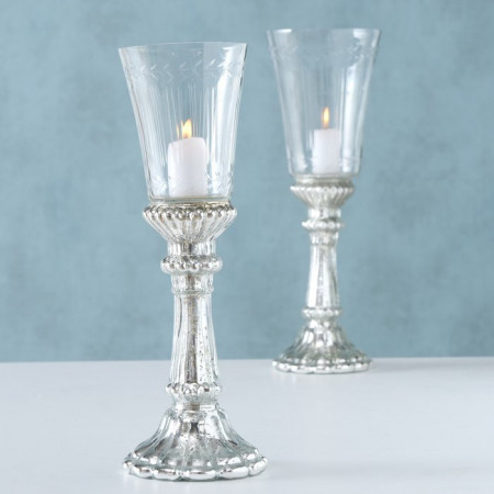 Set 2 sfesnice sticla argintii H 32-37 cm