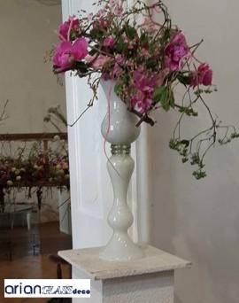 Vaza din sticla alba Alexandra H 65 cm
