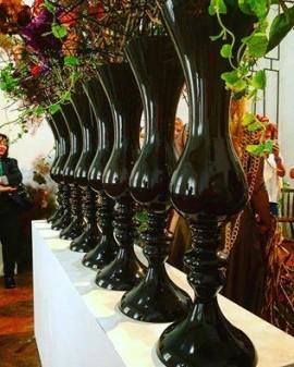 Vaza inalta din sticla neagra Cleopatra H 75 D 26