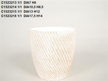 Vas ceramic alb cu auriu D 17.5 H 14 cm