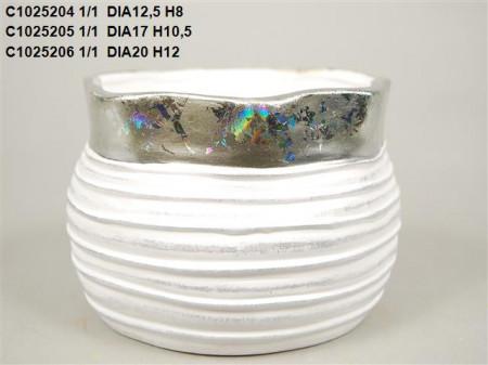 Vas ceramic alc cu argintiu D 20 H 12 cm