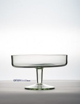 Platou sticla cu picior H 12 D 25 cm