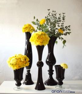 Vaza din sticla neagra Iuno H 60 cm