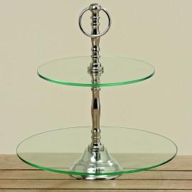 35270 Etajera sticla Dien cu 2 platouri H 31 cm