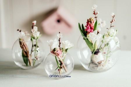 Set 3 boluri rotunde sticla mici