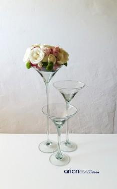 Set 3 cupe sticla Martini BLOOM H40-50-60cm