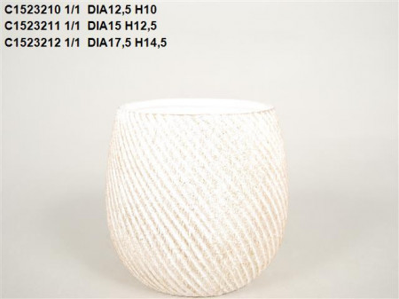 Vas ceramic alb cu auriu D 15 H 12.5 cm