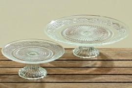 53816 Platou din sticla rezistenta cu model in relief D 19cm