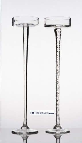 Platou din sticla Calypso cu picior dreptH 60 D 12