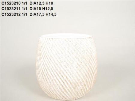Vas ceramic alb cu auriu D 17.5 H 14.5 cm