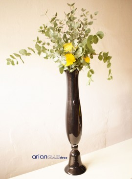 Vaza inalta din sticla neagra Ina H 80 cm