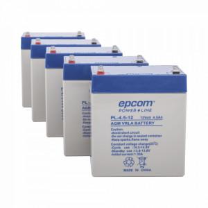 Pl4512paq Epcom Powerline Paquete De 5 Baterias PL