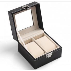 Cutie neagra, pentru 2 ceasuri, piele ecologica
