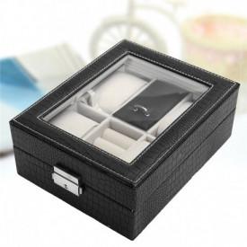 Cutie pentru 4 ceasuri + bijuterii sau butoni imprimeu crocodil de culoare neagra