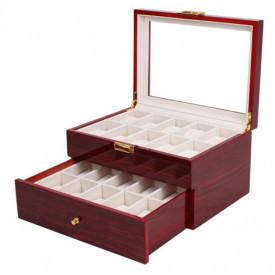 Cutie depozitare pentru 20 de ceasuri din lemn lacuit