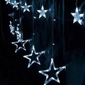 Instalatie Craciun,perdea,fulgi si stele,joc de lumini alb-albastru