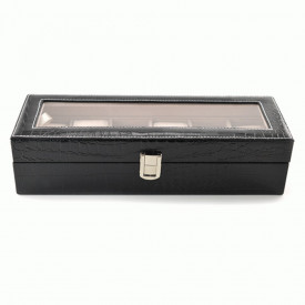 Cutie de ceasuri imitatie piele de sarpe, neagra cu capac transparent