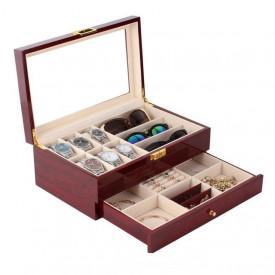 Cutie depozitare pentru ceasuri ochelari si bijuterii din lemn lacuit