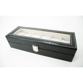 Cutie cu imprimeu crocodil negru pentru 6 ceasuri