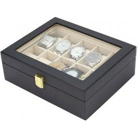 Cutie pentru 10 ceasuri din lemn negru mat