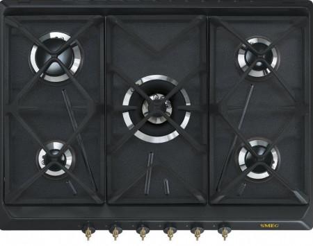 Plită încorporabilă pe gaz, retro, Colonial, 70 cm, antracit, Smeg SRV876AOGH