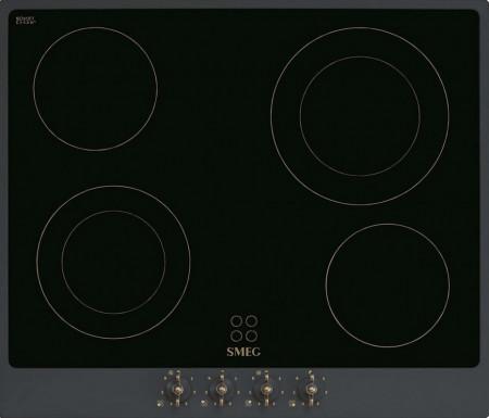 Plită încorporabilă vitroceramică, retro, Colonial, 60 cm, ramă antracit, butoane alamă, Smeg P864AO