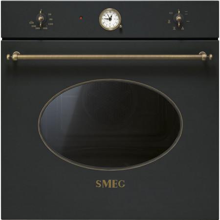 Cuptor încorporabil electric, Colonial, antracit cu estetica alamă, 60 cm, retro, Smeg SF800AO